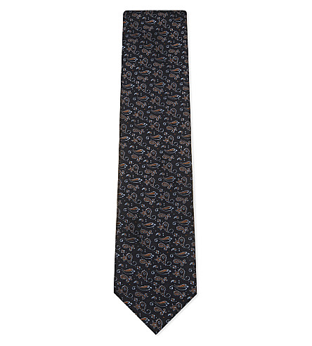 TIE YOUR TIE Abstract paisley silk tie (Navy