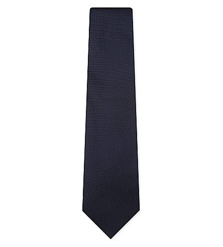 TIE YOUR TIE Hopsack weave silk tie (Dark+blue