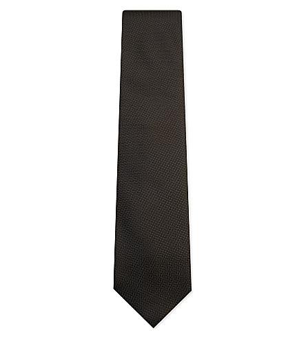 TIE YOUR TIE Hopsack weave silk tie (Olive