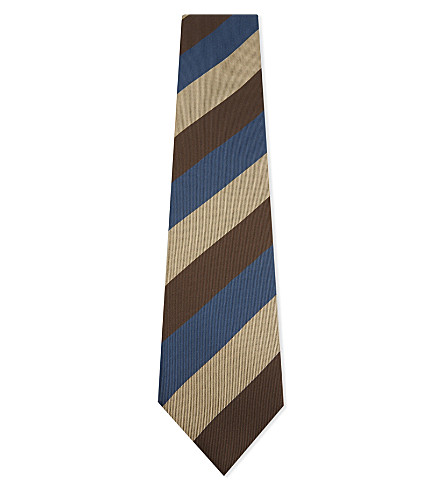 TIE YOUR TIE Wide stripe silk tie (Navy+gold+brown