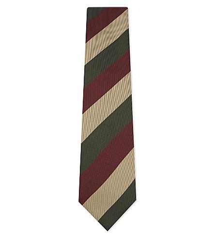 TIE YOUR TIE Wide stripe silk tie (Gold+red+green