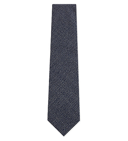 TIE YOUR TIE Mini Check wool tie (Blue