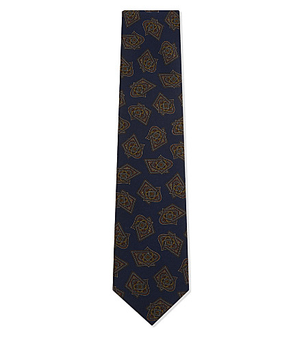 TIE YOUR TIE Abstract diamond silk tie (Blue+red