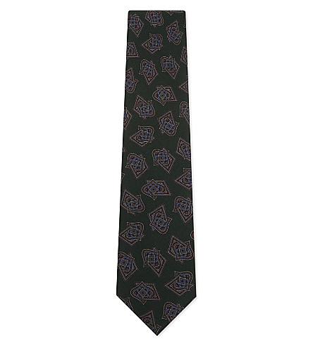 TIE YOUR TIE Abstract diamond silk tie (Green+red