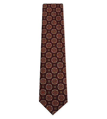 TIE YOUR TIE Circle-pattern wool tie (Burgundy