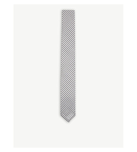 THOM BROWNE Seersucker cotton tie (Medium+grey
