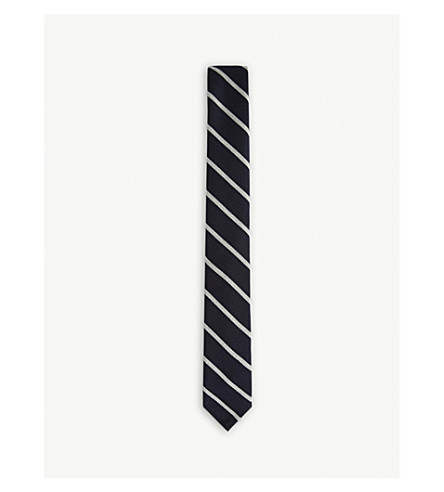THOM BROWNE Bold blazer stripes wool and cotton tie (Navy