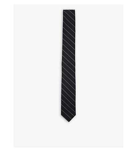 THOM BROWNE 条纹斜纹羊毛领带 (海军