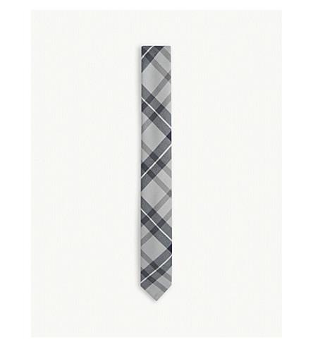 THOM BROWNE Tartan check wool-blend tie (Med+grey
