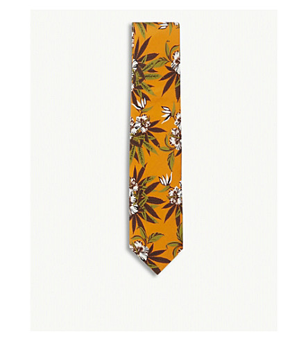 SSS WORLD CORP Hibiscus silk tie (Orange