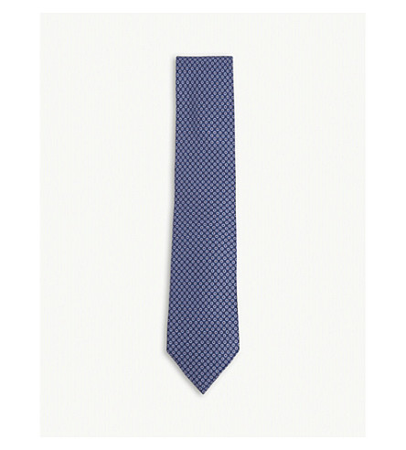 HOLIDAY & BROWN Dotted silk tie (Blue