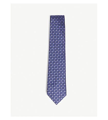 HOLIDAY & BROWN圆形图案真丝领带 (蓝色