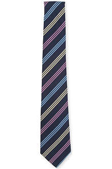 ATKINSONS Triple-stripe printed silk-blend tie
