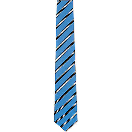 ATKINSONS Irish poplin striped silk tie (Blue