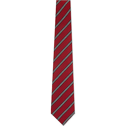 ATKINSONS Irish poplin striped silk tie (Red