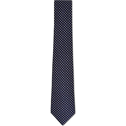 ATKINSONS Mini polka dot tie (Blue/+white