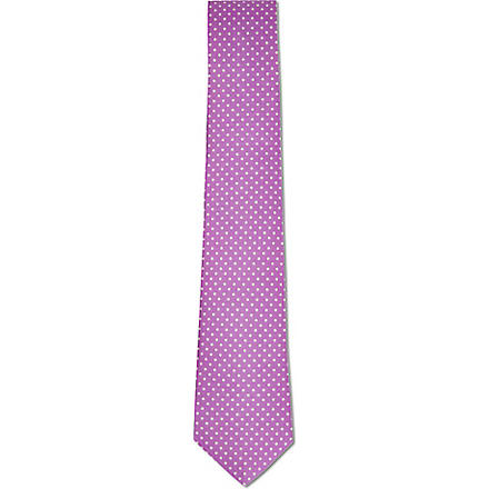 ATKINSONS Mini polka dot tie (Purple/ white