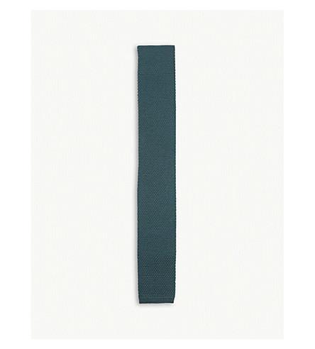 BURBERRY Kennet waffle knit wool tie (Dark+forest+green
