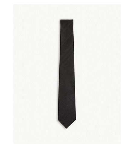 BURBERRY 同色系检查真丝领带 (黑色