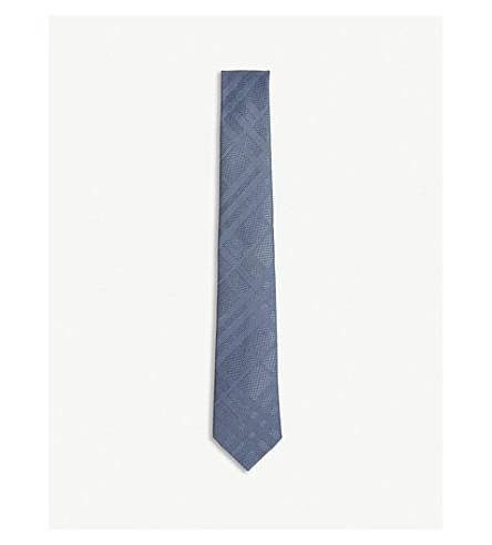 BURBERRY Tonal check silk tie (Sky+blue