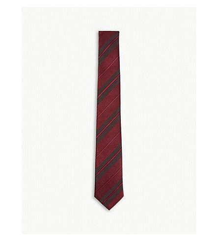 BURBERRY 对角条纹真丝领带 (红葡萄酒
