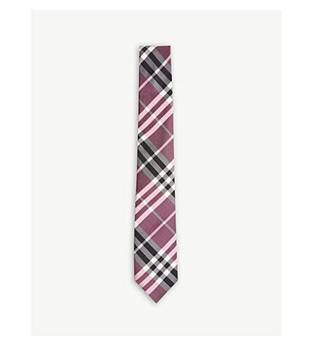 BURBERRY 检查现代切丝混纺领带 (玫瑰 + 粉红色