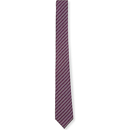SIMON CARTER Pinstripe silk tie (Purple