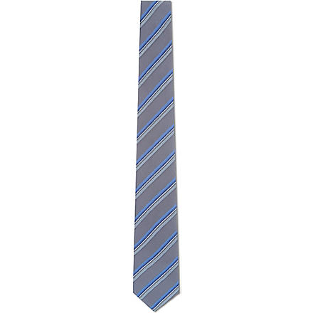 SIMON CARTER Multi-striped silk tie (Blue/ blue