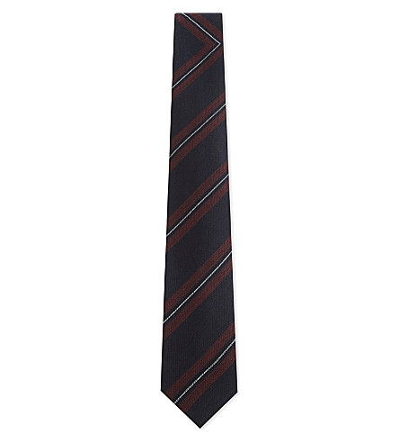 DRIES VAN NOTEN Striped silk-wool tie (Burgundy