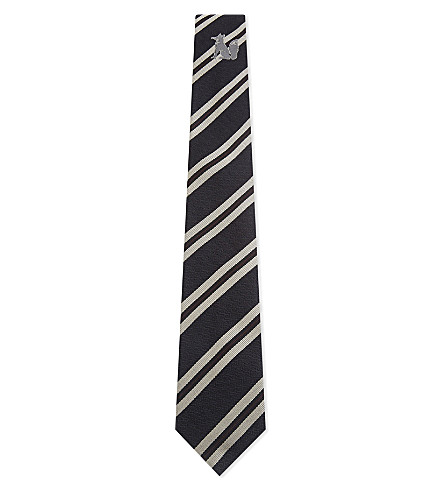 DRIES VAN NOTEN Fox stripe & paisley silk tie (Navy