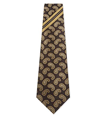 DRIES VAN NOTEN Jacquard paisley and stripe wide silk tie (Brown