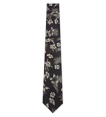 DRIES VAN NOTEN Floral and stripe silk tie (Black