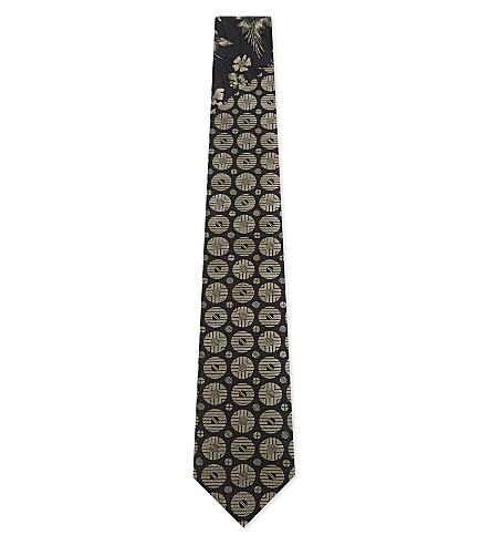 DRIES VAN NOTEN Floral and tile silk tie (Cement