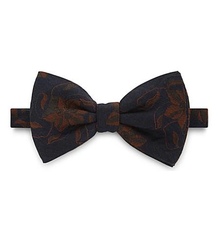 DRIES VAN NOTEN Oversized floral wool-silk bowtie (Brown