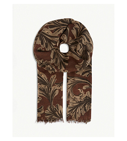 DRIES VAN NOTEN Fern floral-print silk scarf (Brown