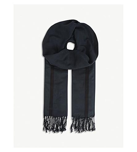 DRIES VAN NOTEN Fred cotton and silk scarf (Navy