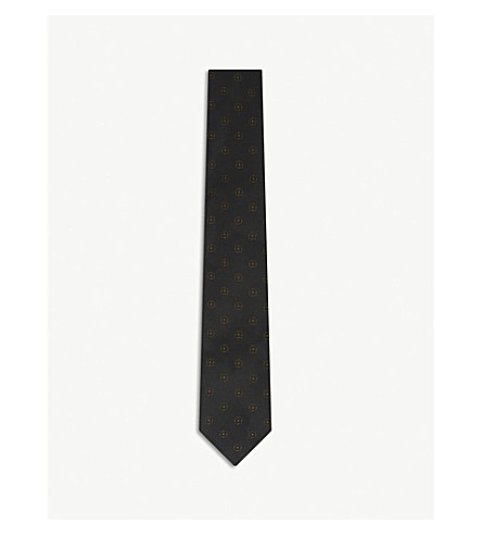 DRIES VAN NOTEN Medallion and stripe silk tie (Kaki