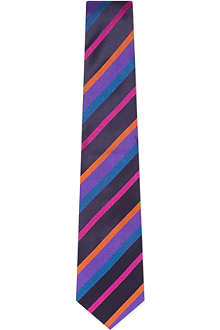 DUCHAMP Block stripe satin tie