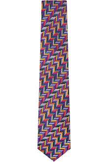 DUCHAMP Geo Herringbone silk tie