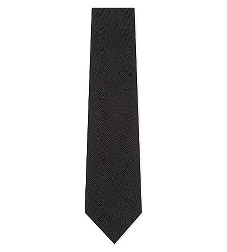LANVIN Solid knitted silk tie (Black