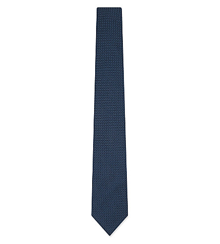 LANVIN Knitted silk tie (Navy