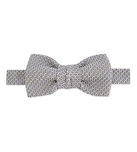 LANVIN Knitted silk bow tie (Silver
