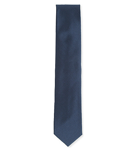 LANVIN Woven silk-cotton tie (Dark+blue