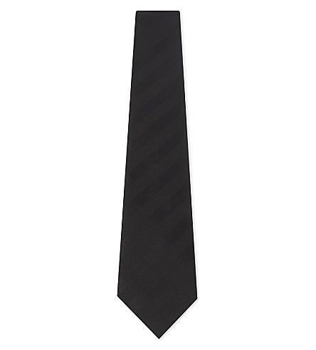 LANVIN Diagonal stripe silk and cotton tie (Black