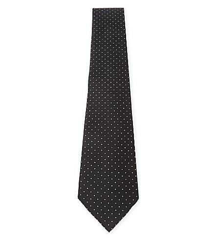 LANVIN 圆点丝领带 (黑色