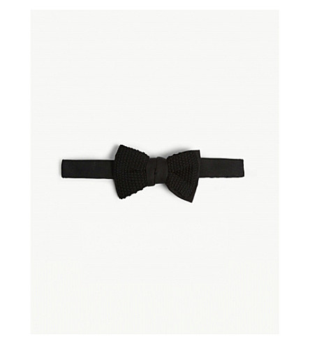 LANVIN Grenadine knitted silk bow tie (Black