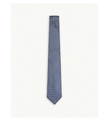 LANVIN Block square silk tie (Blue