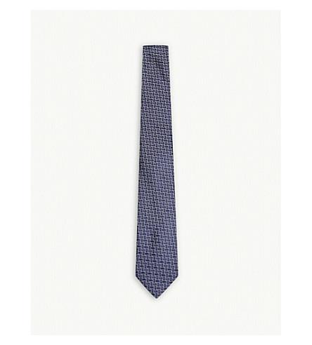LANVIN Block square silk tie (Lilac