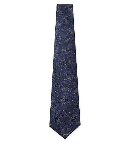 LANVIN Metallic floral silk tie (Navy