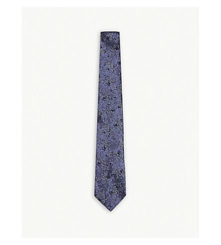 LANVIN Metallic floral silk tie (Lilac